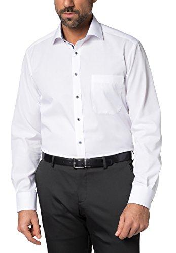 Eterna Long Sleeve Shirt Comfort Fit Fil à Fil Uni Bianco