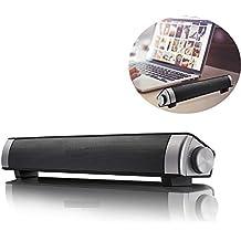 Barra de sonido, altavoces inalámbricos Bluetooth 10W Subwoofer compacto sistema de sonido - altavoces duales estéreo con teléfono manos libres para el hogar TV Bar Dance Party Teatro