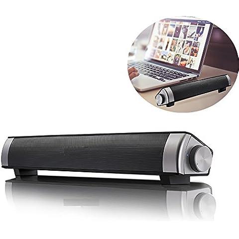 Barra de sonido, altavoces inalámbricos Bluetooth 10W Subwoofer compacto sistema de sonido - altavoces duales estéreo con teléfono manos libres para el hogar TV Bar Dance Party