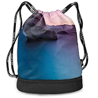 LULABE Printed Drawstring Backpacks Bags,Bonsai Rock In Lake Tahoe Tropical Surreal Scenery Exotic Vivid Colors Artwork,Adjustable String Closure