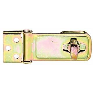 GAH-Alberts 348397 Sicherheits-Überfalle, galvanisch gelb verzinkt, Plattengröße: 40 x 30 mm / Länge Überfalle: 84 mm