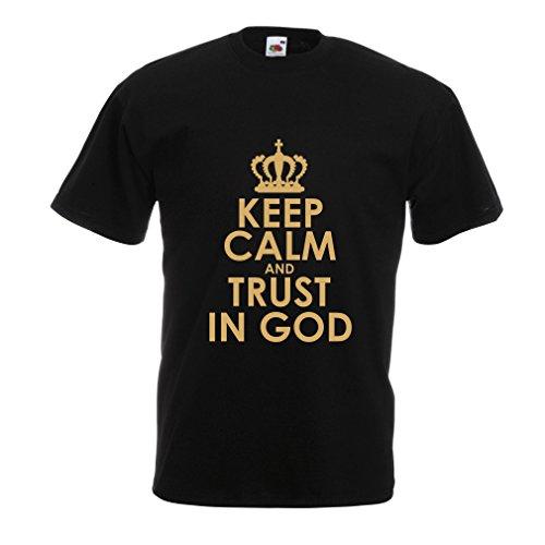 lepni.me Männer T-Shirt Vertraue Gott! Jesus Christus Liebt Dich - Ostern - Auferstehung - Geburt Christi, Christliche Kleidung (Small Schwarz Gold) (Weihnachten Jesus Baby)
