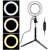 EEEKit 6'Dimmable Ring Light, éclairage Live Stream Live Selfie avec Support Ajustable pour Support de Maquillage, kit d'éclairage vidéo de Photographie extérieure (3 Modes d'éclairage)