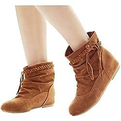 Minetom Mujer Otoño E Invierno Calentar Botas De Flecos Moda Zapatos Cargadores Cómodo Botines Caqui EU 37