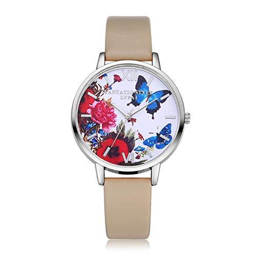WZFCSAE Uhren Frauen Floral Schmetterling Quarz Armbanduhr Uhr Frau Montre Femmes Kleid Uhren Damen Bajan Kol Saati #116 (Guess Uhren Frauen Schmetterling)