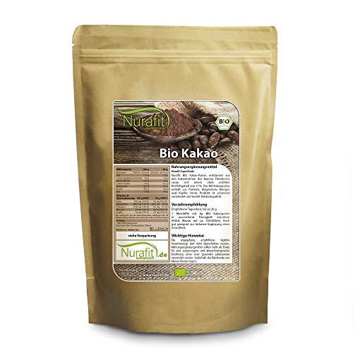 Nurafit BIO Kakao-Pulver, rein natürlich aus Kakaobohnen, entölt mit 11% Fett, Superfood ohne Zusatzstoffe, 1kg / 1000g