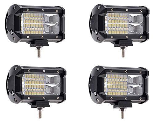 ZXLLAFT-Q LED-Leuchtkasten, Zweireihiger Scheinwerfer 5 Zoll 72W, Der Nebelscheinwerfer Fährt Led-Heller SUV ATV-LKW,72Wx4Pack