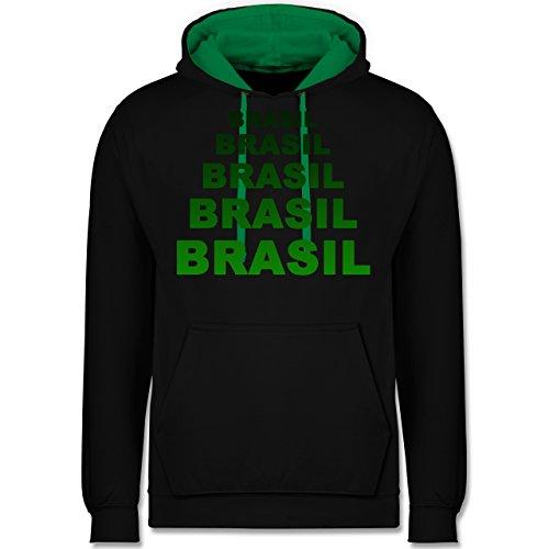 Länder - Brasil Fanshirt - Kontrast Hoodie Schwarz/Grün