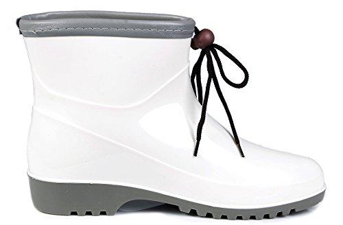 AgeeMi Shoes Femmes Flat Caoutchouc Imperméables Bottes with Nœuds Fleur Blanc