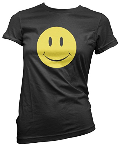 Womens Acid Smiley Face Black T-Shirt - Sizes 8 to 16