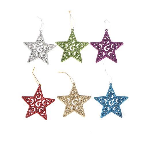 Weihnachten Glitter Stern Ornamente Kunststoff Weihnachtsbaum Hängende Dekorationen Urlaub Party Supplies Ornamente ()