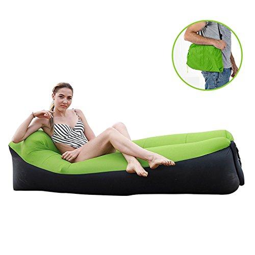 Tumbona inflable, sofá inflable e impermeable con cojín integrado, ideal para campamento, parque, playa, patio, color azul, verde