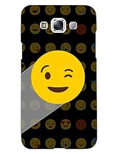 Samsung E7 Back Cover - Whatsapp Emoji - Naughty Wink - Black - Designer Printed Hard Shell Case