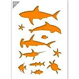Fisch Sealife Silhouetten Schablone - Plastik - A3 42 x 29,7cm - Breite erste Hai 22 cm - wiederverwendbare kinderfreundliche Schablone für Malerei, Handwerk, Fenster, Wände und Möbel