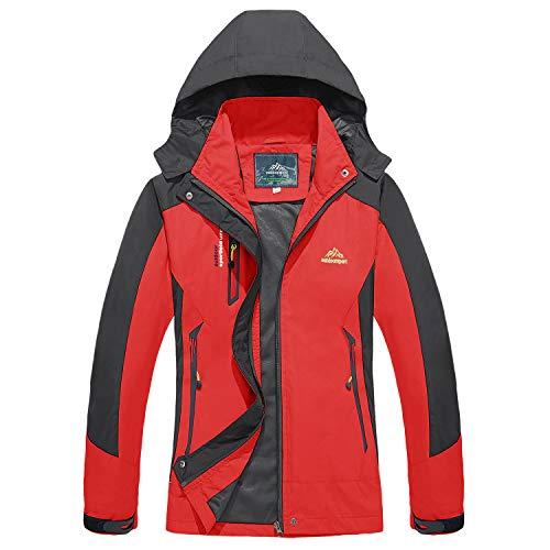 TACVASEN Damen Regenjacke Winddicht Dünn Jacke Wasserdicht Regenmantel Sportswear, Damen, rot, Large
