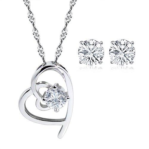 Amethyst gentle angel Silver pendant Necklace + earring+ double heart bracelet set,for women girls. (f151)