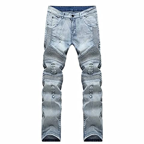 Men's Ripped Hip Hop Skinny Slim Fit Casual Jeans Pants Light Blue / 33