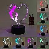 Cadeaux De Fantaisie Maman Fils Amour 3D Led Lampe 7 Couleurs Changeantes Veilleuses Pour Cadeau De Fête Des Mères Pour Lampe De Table De Bureau Présente...