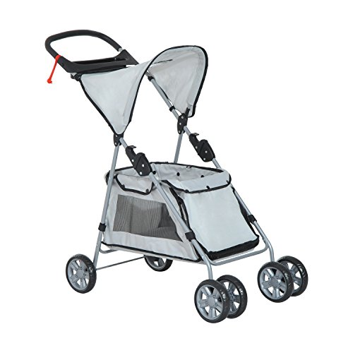 PawHut® Hundewagen Hundebuggy Haustier Transportwagen Buggy mit Dach Stahl (Grau)