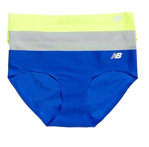 New Balance Damen Atmen Hipster Panty 3er Pack, Damen, Toxic Neon/Concrete Grey/Pacific Blue -