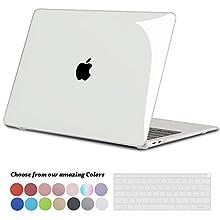 TECOOL Coque MacBook Air 13 Pouces 2020 2019 2018 A2179 / A1932, Plastique Case Transparent Rigide Étui avec Couverture de Clavier pour Nouveau MacBook Air 13.3 Retina avec Touch ID - Transparente