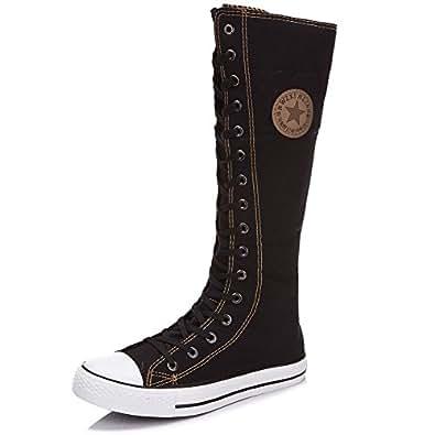 Bilun Women's Knee High Lace Up Zip Gothic Fashion Canvas Boots 905(Black,UK3)