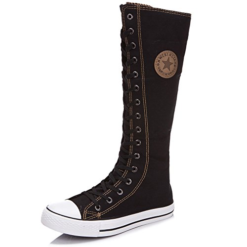 Jamron Women Fashion Canvas Dance Boots Knee High Bicycling Boots Girls Fancy School Shoes