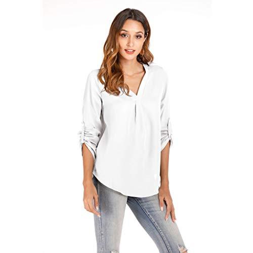 TOPSELD Tops Damen Sommer Plus Size Chiffon Blumendruck Langarm Bluse Pullover Tops Shirt -