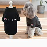 dingsheng Dog hoodie hooded clothes small dog warm coatDog clothes summer dress light spring tide brand embroidery black M