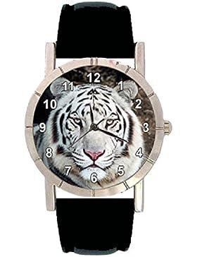 Tiger weiss Motiv Damenuhr mit Lederarmband