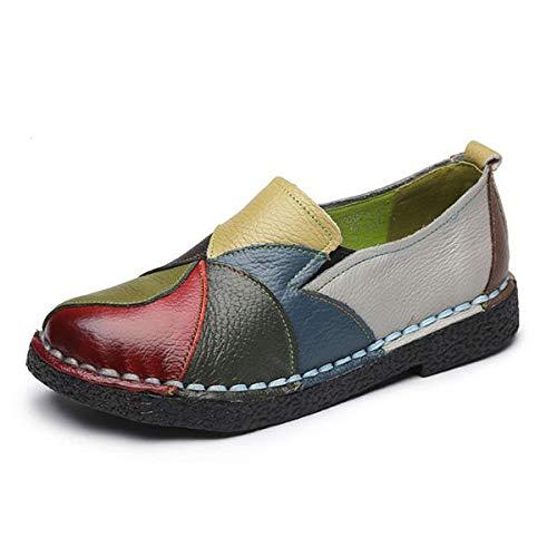 ZHRUI Leder Damen Soft Driving Schuhe Vintage Slip auf Casual Bequeme Flache Loafers (Farbe : Grün, Größe : EU 41) Vintage Slip