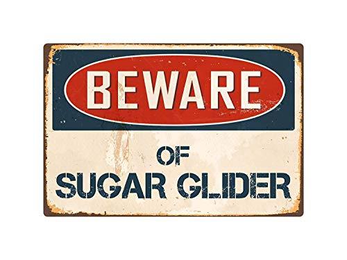 Post Glider (qidushop Blechschild mit Spruch Beware of Sugar Glider, 20 x 30 cm)