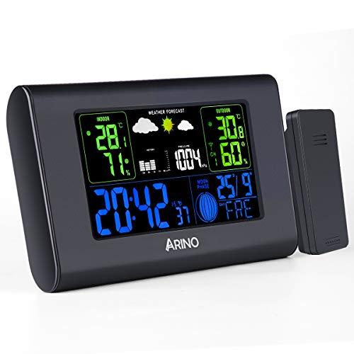 ARINO Wetterstation Funk mit Außensensor, Innen und Außen, Schwarz