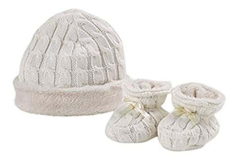 Natures Knits Organic Cotton Cable Hat & Booties Fur Lined Gift Set. Mink