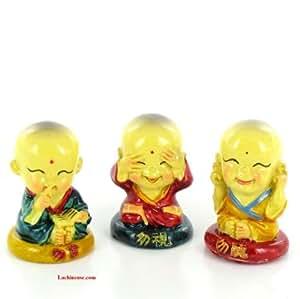 3 BONZES DE LA SAGESSE - Figurines Ne rien voir, dire, entendre