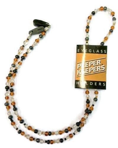 Peeper Keepers-Occhiali con perle di vetro-Cordino per occhiali, colore: ambra, colore: grigio/trasparente