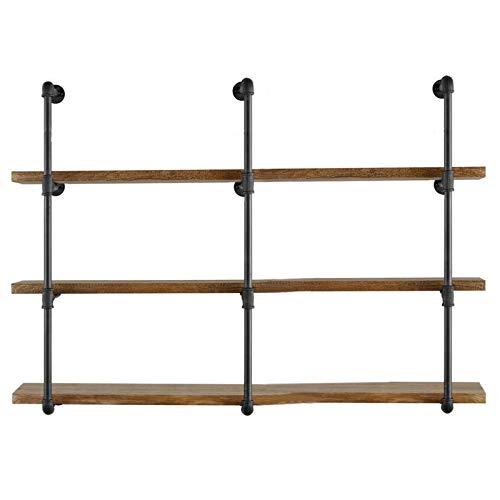 Yuanshikj Industrial Retro Wandhalter Eisen Rohr Regal Halter Deko Vintage Schwarz 3 Pcs 4 Tier pipe shelf,Not included planks (Tier Shelf)