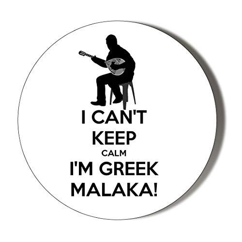 Gift Insanity I Can\'t Keep Calm I\'m Greek MALAKA Bouzouki White 38mm Novelty Badge