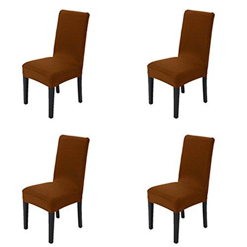 Esszimmer Stuhl Abdeckungen Satz von 4, MAIKEHOME reine Farbe Spandex Stretch gefärbt Stuhl Hussen für Hotel Küche Restaurant Hochzeit Party Decor (Braun, 4ST) (Hochzeit Stuhl Deckt)