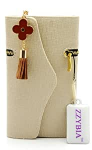 ZZYBIA NOTE III ZF Beige Leatherette Case with Flower Charm Card Holder Wallet for Samsung Galaxy Note Note III 3 N9000 N9005