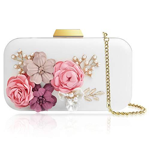 WATACHE Frauen Blume Kupplungen Abendtaschen Handtaschen Perle Perlen Hochzeit Clutch Geldbörse für Prom Weihnachtsfeier Hochzeit Braut (Blume#2) -