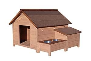 Niches en bois chien - Niche Chien Ontario en Bois Large + 2 Gamelles Inox