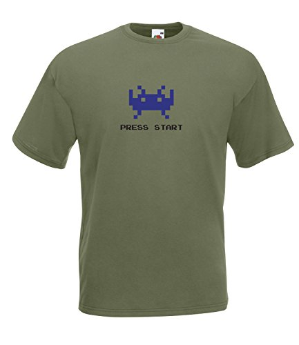 Space Invaders Press Start High Quality T-Shirt - Many Colours - S to XXL