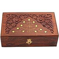 Legno Handmade Jewellery Keepsake scatola con fiori Carving & Intarsi in Ottone Sul coperchio Home Decor