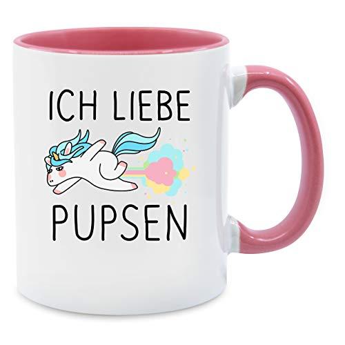 Statement Tasse - Ich liebe pupsen Einhorn - Unisize - Rosa - Q9061 - Kaffee-Tasse inkl. Geschenk-Verpackung
