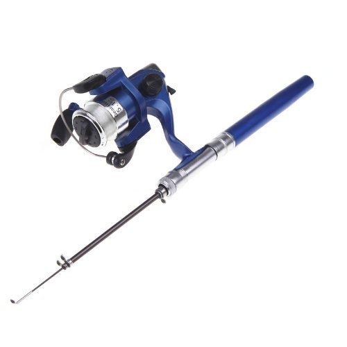 SODIAL(R) Mini Aluminium Angelrute Pocket Pen Angelrute Rod Pole + Aufroller blau