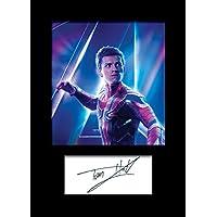 TOM Holland 1 Marvel Spiderman Homecoming | Foto montada, reimpresión de Firma | Tamaño A5 para Marcos de 6x8 Pulgadas | Máquina Cortada | Exhibición de la Foto | Presente, Regalo, Coleccionable