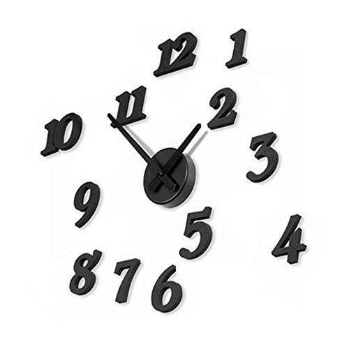 Aliciashouse Schwarz 3D Wanduhren DIY-große Zahlen Uhr Wand Aufkleber Abziehbild Uhren Home Decor