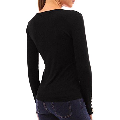 ❤️Manadlian Chemisier Blouse Femme Ete 2018,Femmes Tops Button V Neck T-Shirt à Manches Longues T Shirt Femme Grande Taille Noir