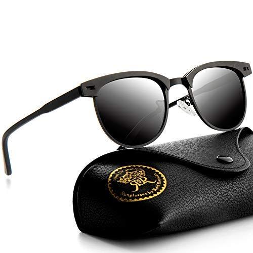 Rocf Rossini Polarisierte Herren Sonnenbrille Halbrahmen für Männer Vintage Metallrahmen Klassische Retro Fahrer Brille Frauen Sonnenbrille UV400 Schutz (schwarz)